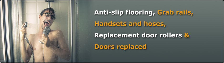 Anti-slip flooring Grab rails Handsets and hoses Replacement door rollers Doors replaced